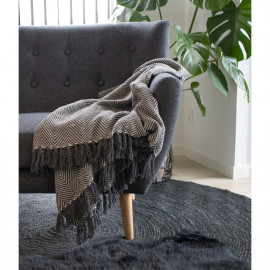 House Nordic Cort Plaid - i sort og hvidt bomuld design A