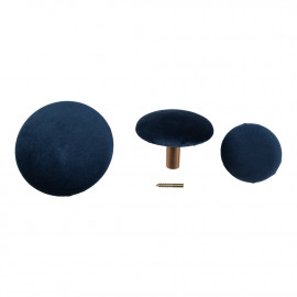 House Nordic Giza Knobs - 3 knobs i blåt velour og messing