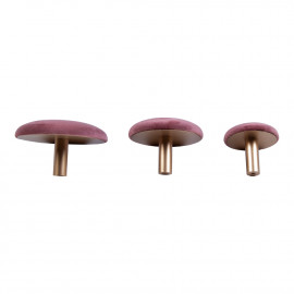 House Nordic Giza Knobs - 3 knobs i rosa velour og messing