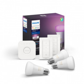 Philips Hue White & Colour 3 pærer, bridge & 2 dimswitch