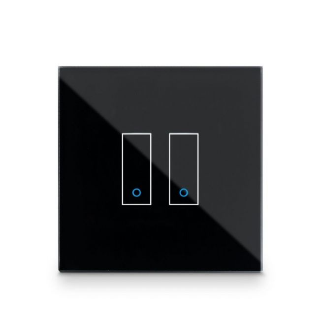 Iotty Smart Switch double button faceplate - Design your own smart switch Colour: Black