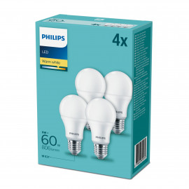 Philips LED 60W Standard E27 Varm hvid forsted 4-discount stkke - 8718696829974