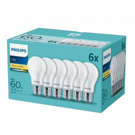 Philips LED 60W Standard E27 Varm hvid forsted 6-discount stkke - 8718696829998