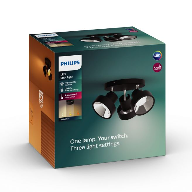 Philips LED SceneSwitch BUKKO plate/spiral Sort 3x4.3W SELV - 8718696169575