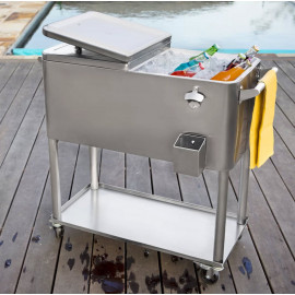 Homeshop Ice Trolley Cooler - Kølevogn Rustfri