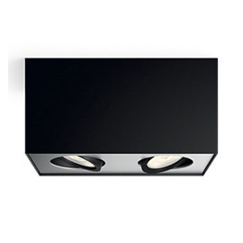 Philips MyLiving Box Spot LED 2 stk, Sort 2x4,5W